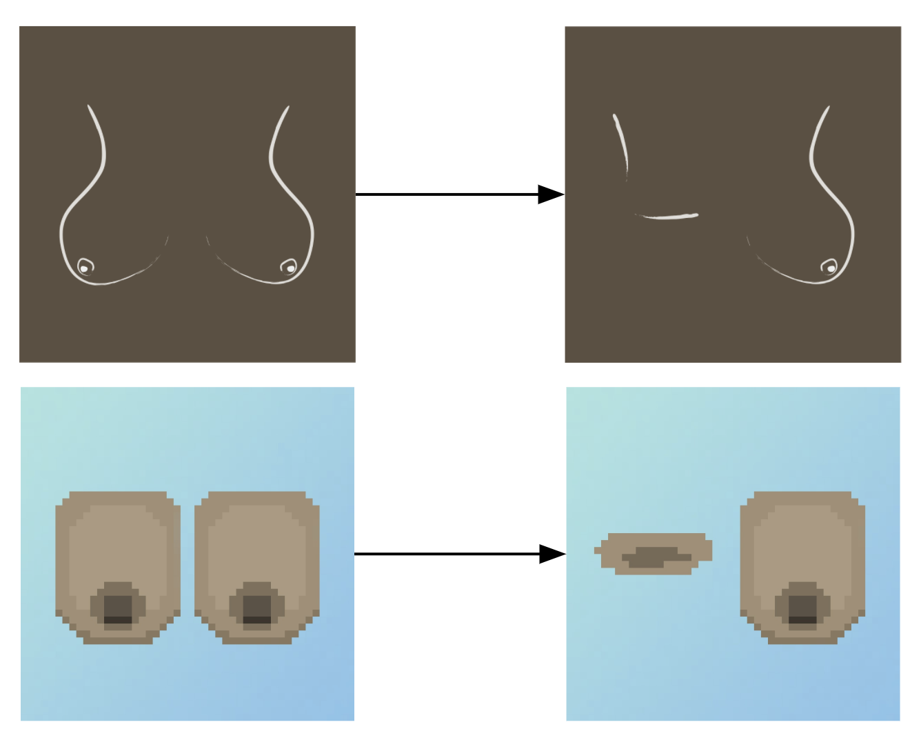 Two example images explaining the mechanism of how NFTs change